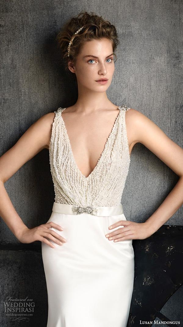 lusan mandongus 2016 wedding dresses sleeveless beaded v neckline beaded top jeweled buckle satin belt gown peridot