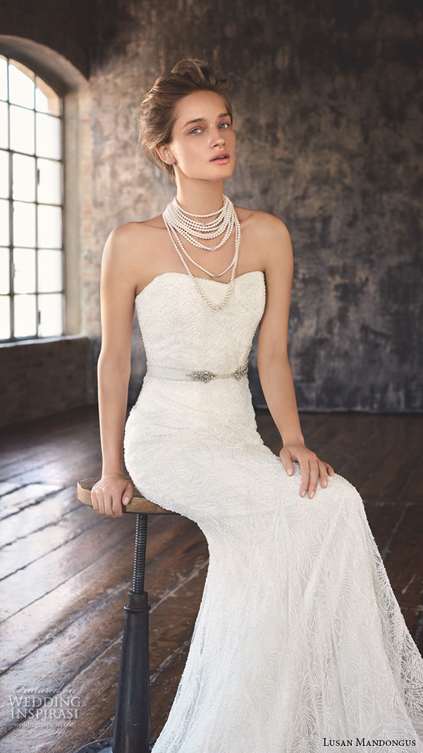 lusan mandongus 2016 wedding dresses strapless semi sweetheart neckline jeweled belt beautiful mermaid gown