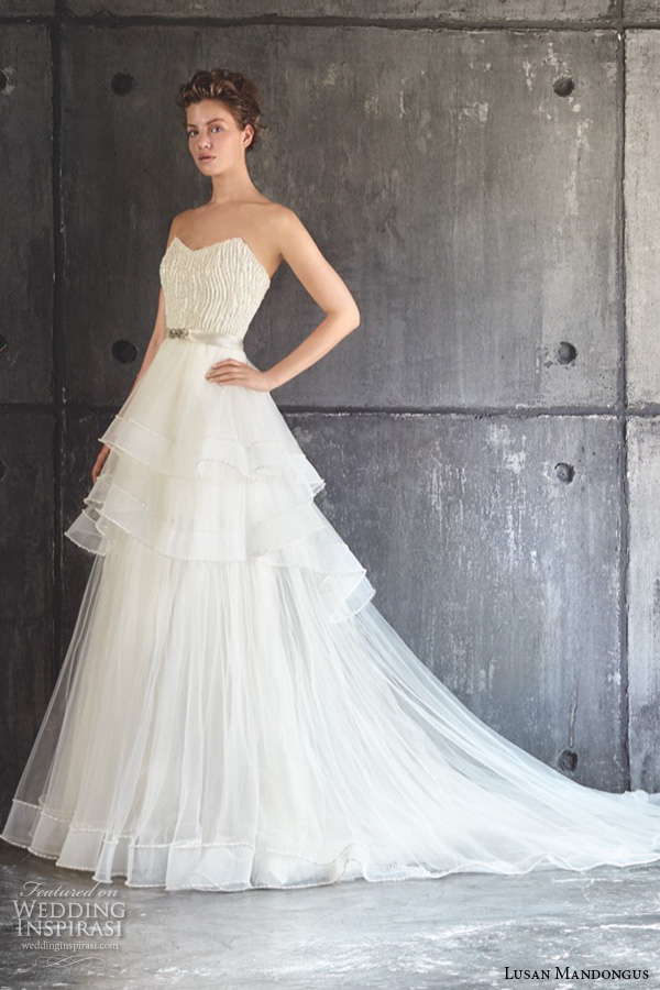lusan mandongus 2016 wedding dresses strapless sweetheart neckline beaded bodice layered tiered a line gown polaris