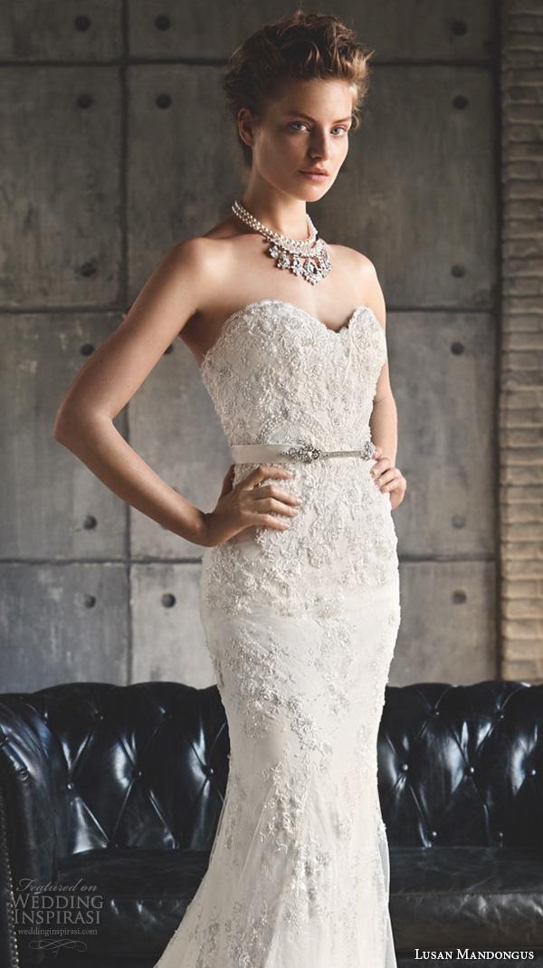 lusan mandongus 2016 wedding dresses strapless sweetheart neckline embroidered lace slim cut beautiful fit flare mermaid sheath gown mintaka closeup