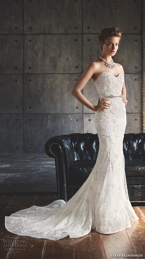 lusan mandongus 2016 wedding dresses strapless sweetheart neckline embroidered lace slim cut beautiful fit flare mermaid sheath gown mintaka