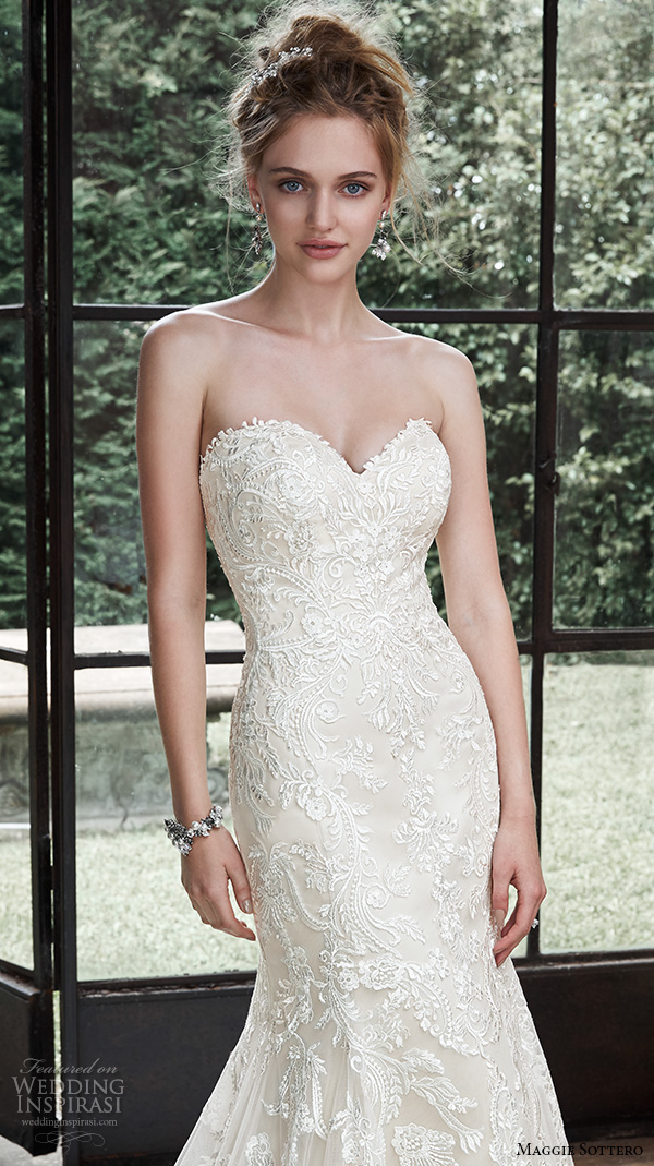 Maggie Sottero Fall 2017 Wedding Dresses Beautiful Elegant Fit Flare Gown Strapless Sweetheart Neckline Embroidered Winstyn