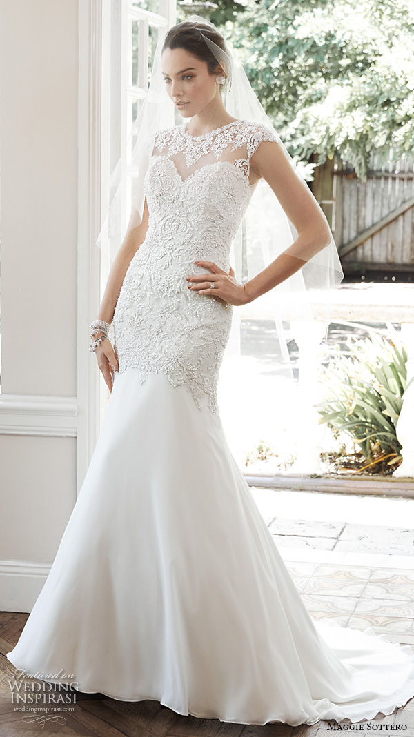 62561f2d9691 maggie sottero fall 2015 wedding dresses beautiful sheath gown illusion  sweetheart neckline cap sleeves embroidered bodice