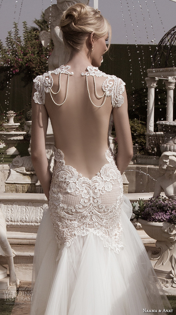 naama anat fall 2016 bridal dresses beautiful mermaid wedding dress fit flare trumpet lace strap sweetheart neckline tulle skirt style devine open low back closeup
