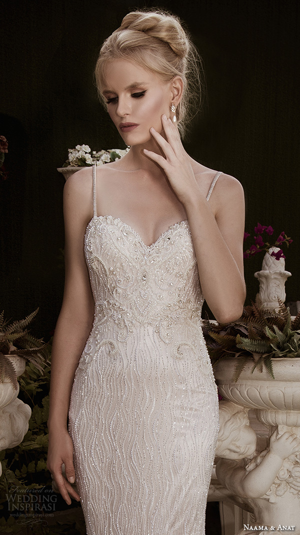 naama anat fall 2016 bridal dresses beautiful mermaid wedding dress fit flare trumpet spagetti strap sweetheart neckline beaded embroidery style admirable closeup