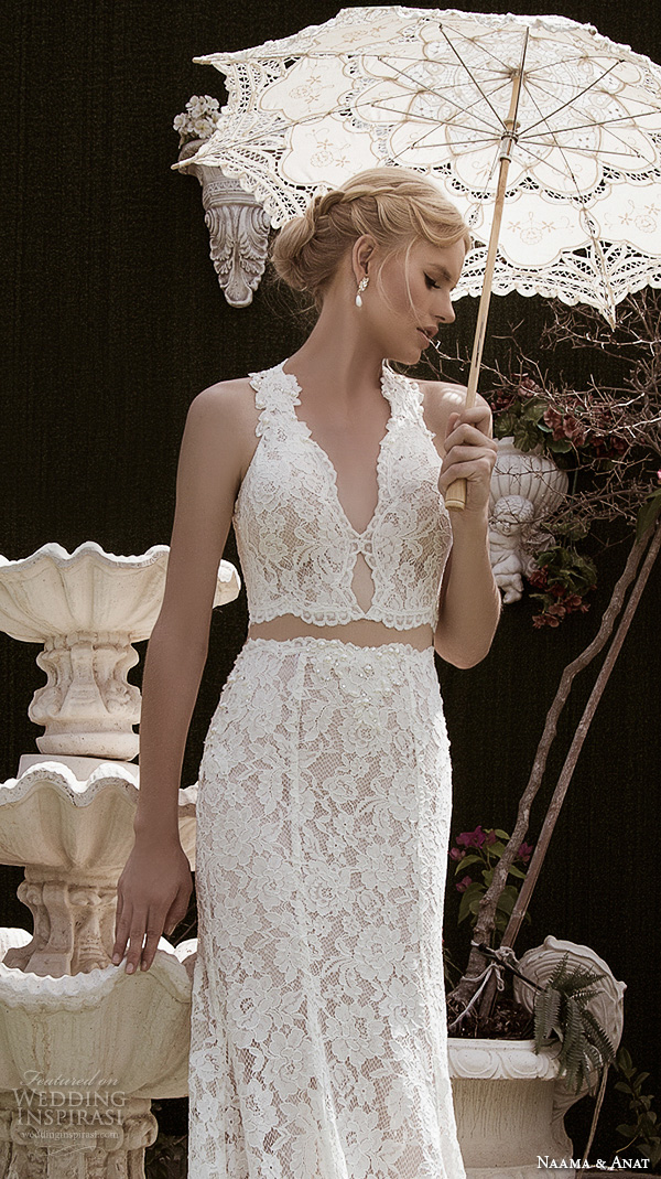 naama anat fall 2016 bridal dresses beautiful sheath wedding dress lace strap v neckline lace crop top style charming closeup