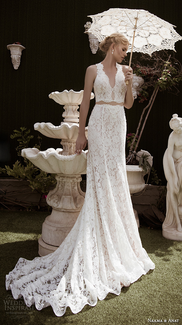 naama anat fall 2016 bridal dresses beautiful sheath wedding dress lace strap v neckline lace crop top style charming