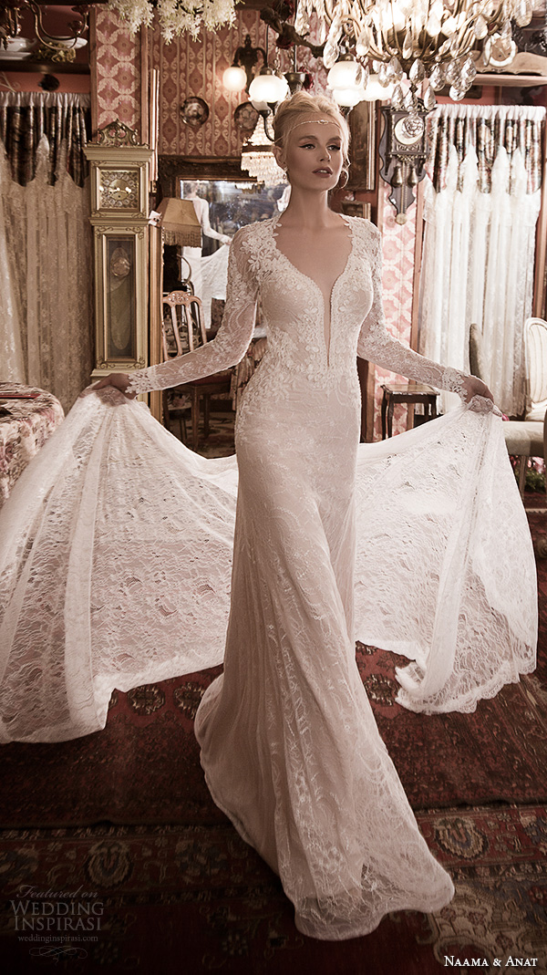naama anat fall 2016 bridal dresses gorgeous sheath wedding dress long sleeves deep plunging neckline style fabulous