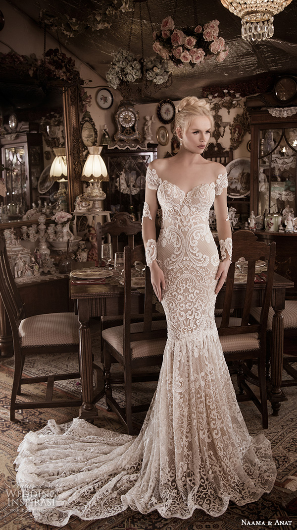 naama anat fall 2016 bridal dresses stunning gorgeous mermaid wedding dress off the shoulders long sleeves sweetheart neckline lace filigree embroidery style superior