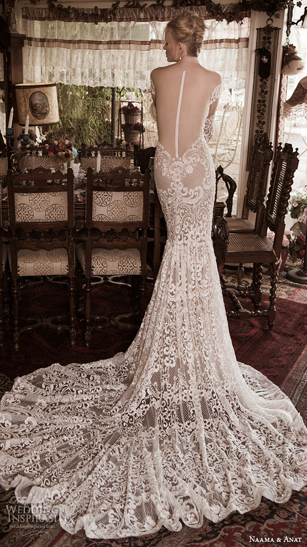 naama anat fall 2016 bridal dresses stunning mermaid wedding dress off the shoulders long sleeves sweetheart neckline lace filigree embroidery style superior illusion look back