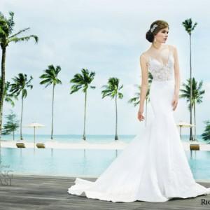 rico a mona bridal resort 2015 sleeveless sheath sexy wedding dress with illusion strap