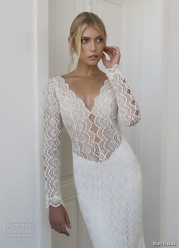 riki dalal 2015 valencia wedding dresses beaded long sleeves beaded applique v neckline elegant sheath wedding dress closeup front