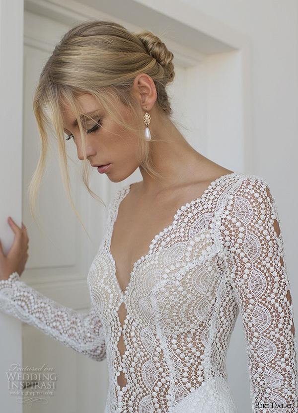 riki dalal 2015 valencia wedding dresses beaded long sleeves beaded applique v neckline elegant sheath wedding dress closeup side