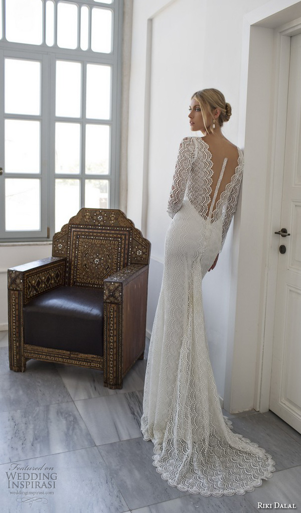 riki dalal 2015 valencia wedding dresses beaded long sleeves beaded applique v neckline elegant sheath wedding dress low v back
