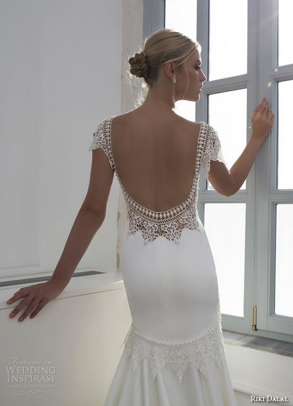 riki dalal 2015 valencia wedding dresses cap sleeves bateau neckline elegant fit flare trumpet mermaid gown low open back closeup back