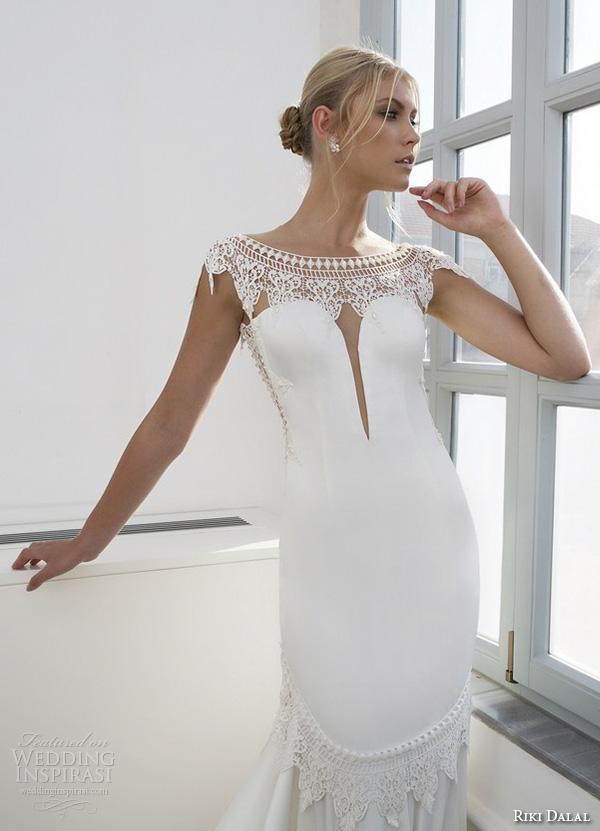 riki dalal 2015 valencia wedding dresses cap sleeves bateau neckline elegant fit flare trumpet mermaid gown low open back closeup front