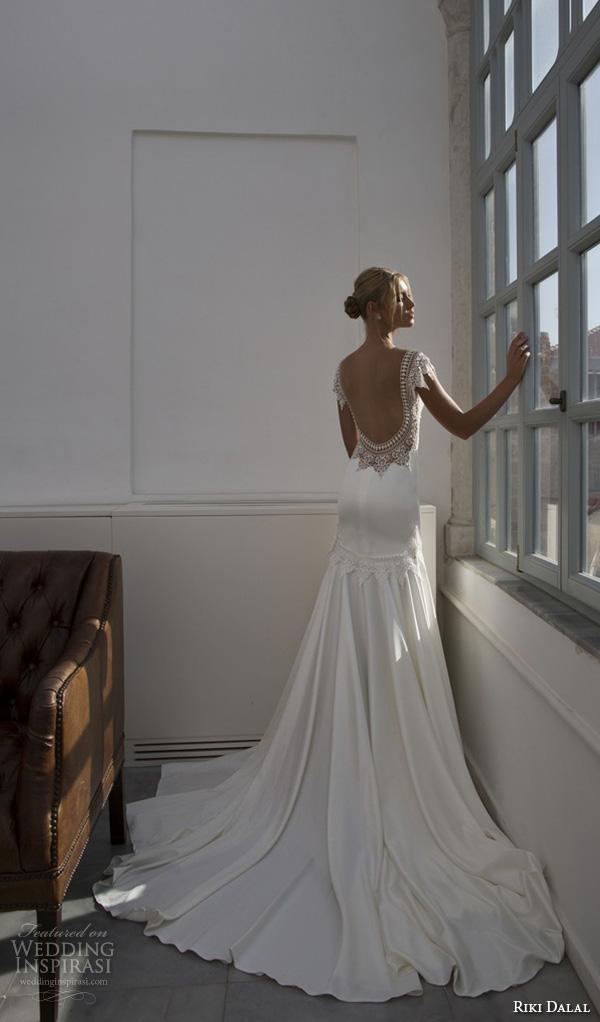 riki dalal 2015 valencia wedding dresses cap sleeves bateau neckline elegant fit flare trumpet mermaid gown low open back
