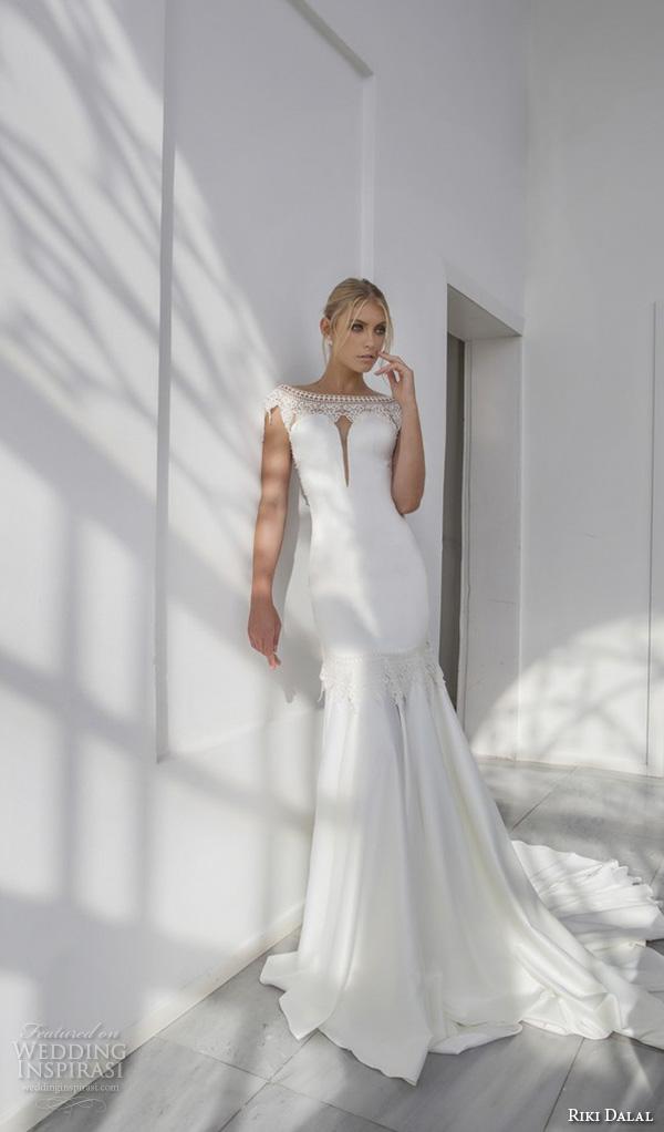 riki dalal 2015 valencia wedding dresses cap sleeves bateau neckline elegant fit flare trumpet mermaid gown