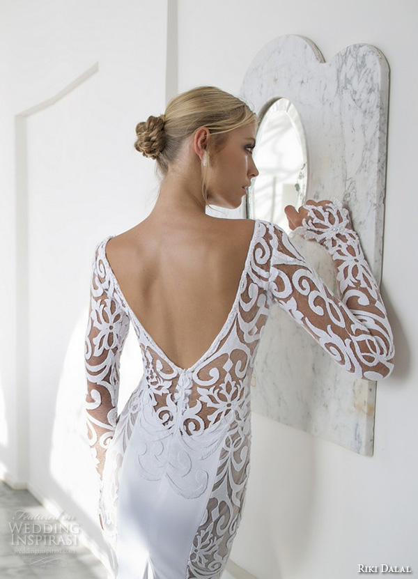 riki dalal 2015 valencia wedding dresses filigree lace long sleeves v neck embroidered bodice elegant sheath wedding gown v low back close up back