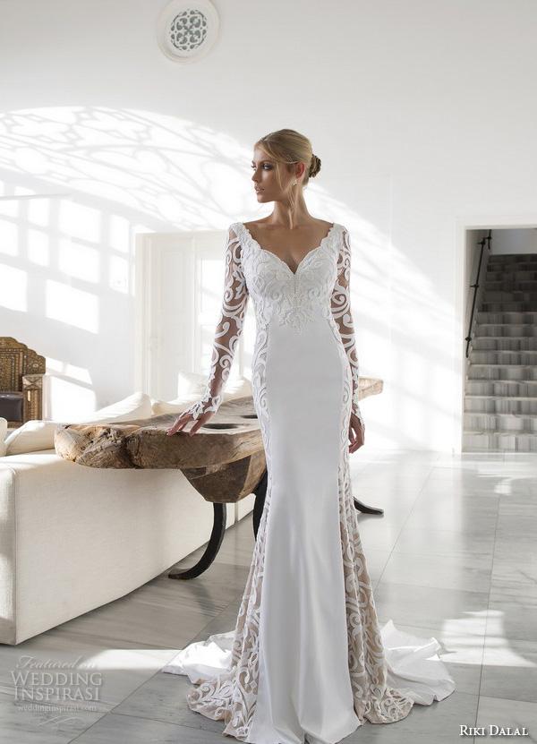 riki dalal 2015 valencia wedding dresses filigree lace long sleeves v neck embroidered bodice elegant sheath wedding gown