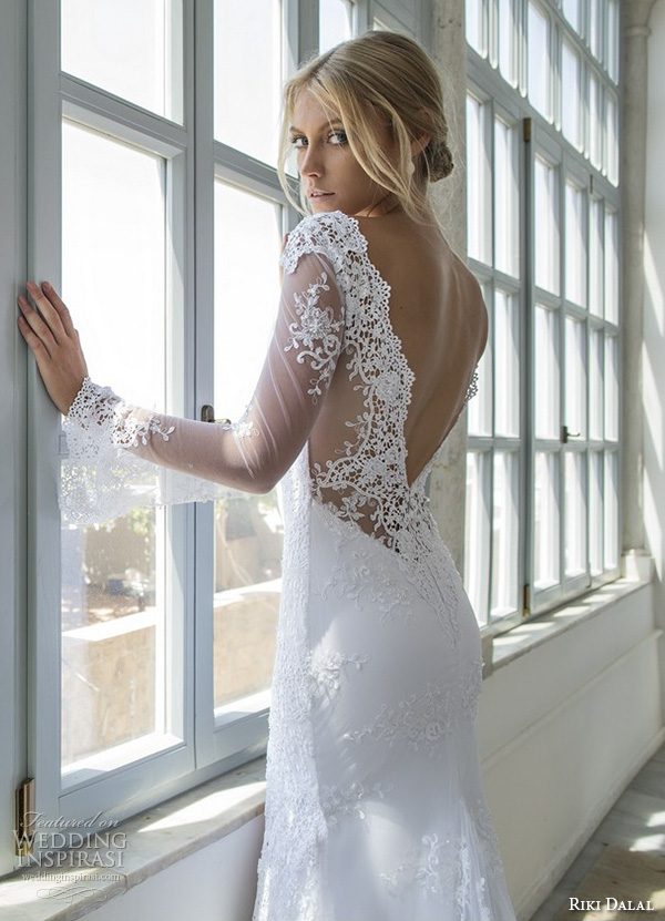 riki dalal 2015 valencia wedding dresses illusion lace trumpet sleeves deep plunging v neck beautiful embroidered fit flare mermaid gown high middle slit open low v back