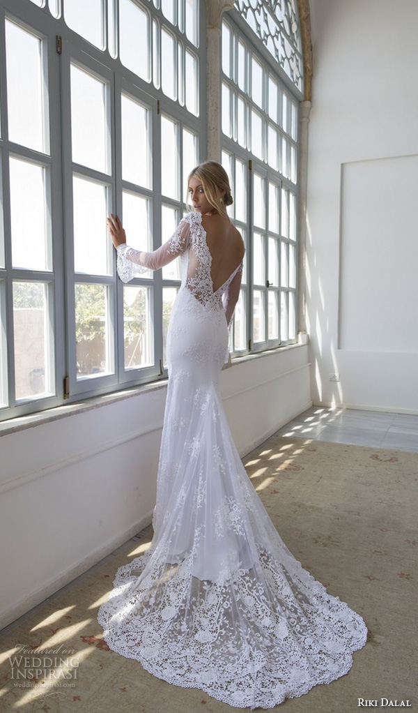 riki dalal 2015 valencia wedding dresses illusion lace trumpet sleeves deep plunging v neck embroidered fit flare mermaid gown high middle slit open low v back
