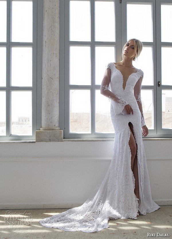riki dalal 2015 valencia wedding dresses illusion lace trumpet sleeves deep plunging v neck embroidered fit flare mermaid gown high middle slit