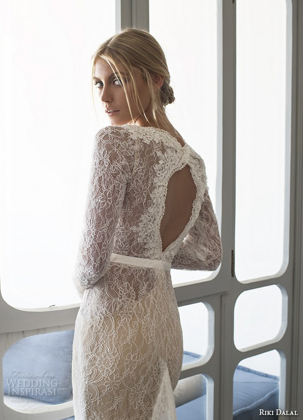 riki dalal 2015 valencia wedding dresses lace long sleeves deep plunging neckline stunning gorgeous lace throughout sheath mermaid gown keyhole back view closeup