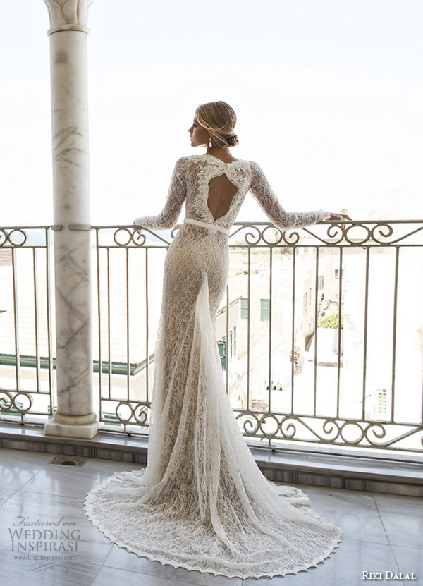 riki dalal 2015 valencia wedding dresses lace long sleeves deep plunging neckline stunning gorgeous lace throughout sheath mermaid gown keyhole back view