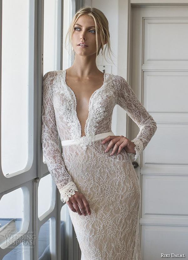 riki dalal 2015 valencia wedding dresses lace long sleeves deep plunging neckline stunning gorgeous lace throughout sheath mermaid gown keyhole back