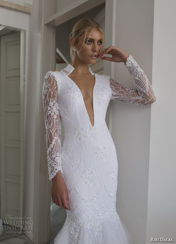riki dalal 2015 valencia wedding dresses lace long sleeves high back collar deep v plunging neckline stunning fit to flare trumpet mermaid gown v back closeup