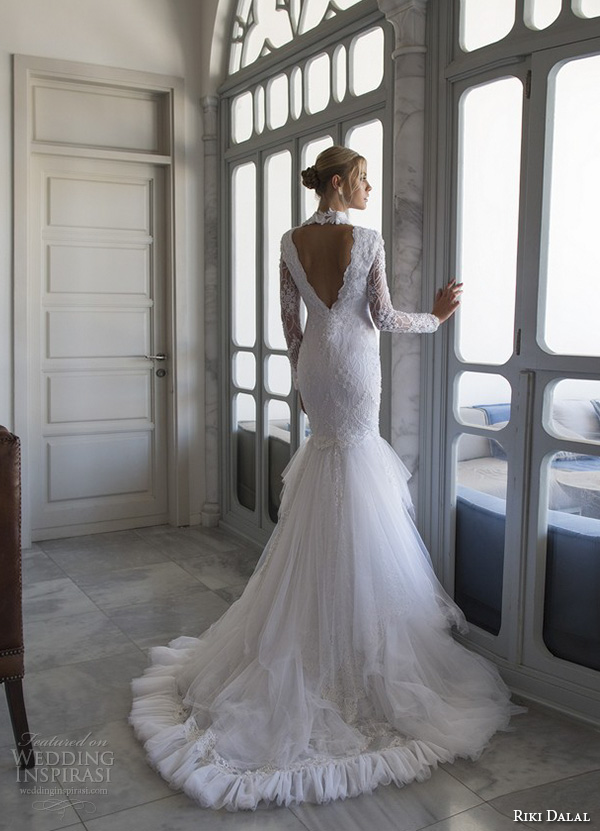 riki dalal 2015 valencia wedding dresses lace long sleeves high back collar deep v plunging neckline stunning fit to flare trumpet mermaid gown v back