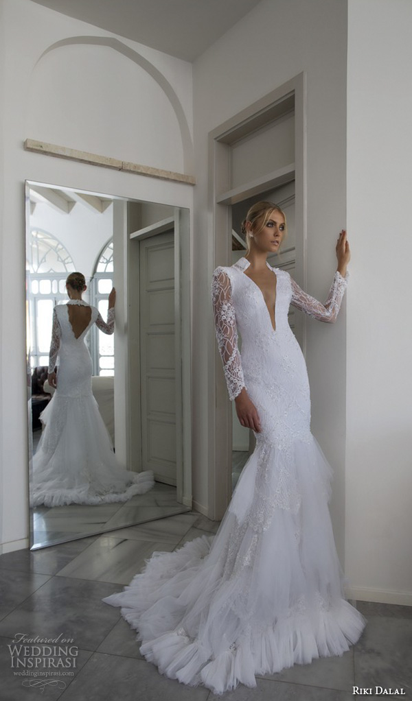 riki dalal 2015 valencia wedding dresses lace long sleeves high back collar deep v plunging neckline stunning fit to flare trumpet mermaid gown