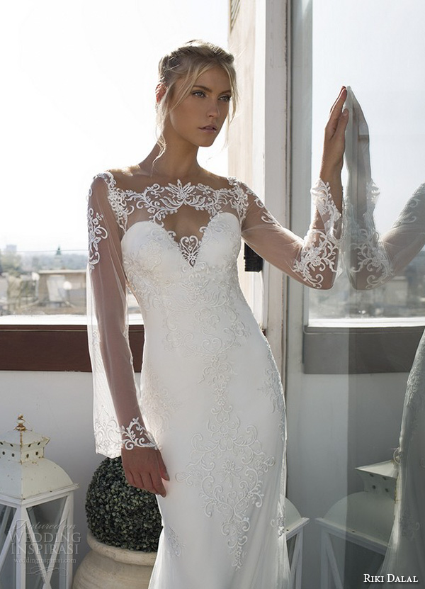 riki dalal 2015 valencia wedding dresses loose lace illusion long sleeves sheer neckline sweetheart embroidered bodice beautiful sheath wedding gown open sheer low back closeup
