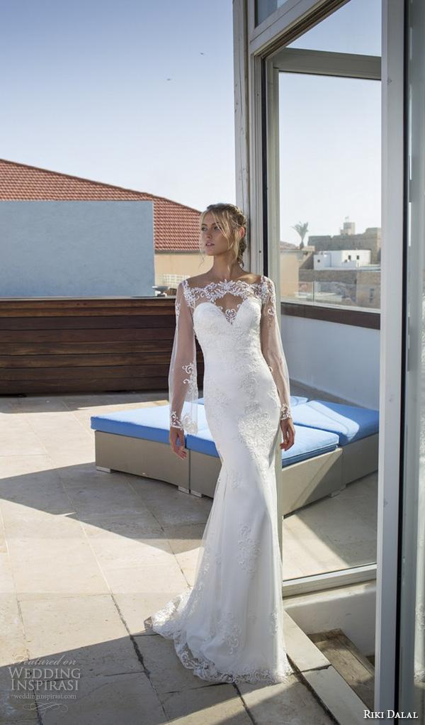 riki dalal 2015 valencia wedding dresses loose lace illusion long sleeves sheer neckline sweetheart embroidered bodice beautiful sheath wedding gown