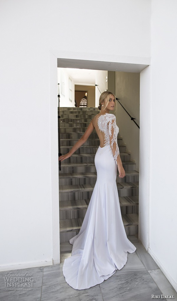 riki dalal 2015 valencia wedding dresses one shoulder intricate embroidered sleeves sweetheart neckline fit flare sheath mermaid wedding gown low back