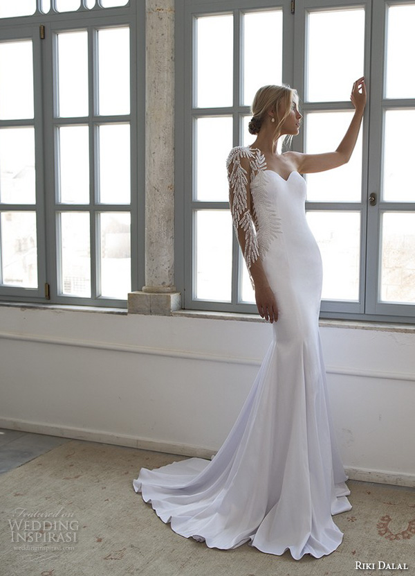 riki dalal 2015 valencia wedding dresses one shoulder intricate embroidered sleeves sweetheart neckline fit flare sheath mermaid wedding gown