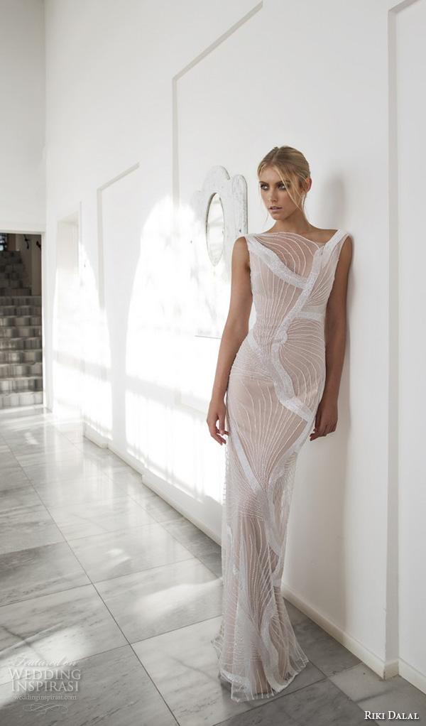 riki dalal 2015 valencia wedding dresses sleeveless bateau neckline illusion embroidered slim fit unique sheath wedding gown