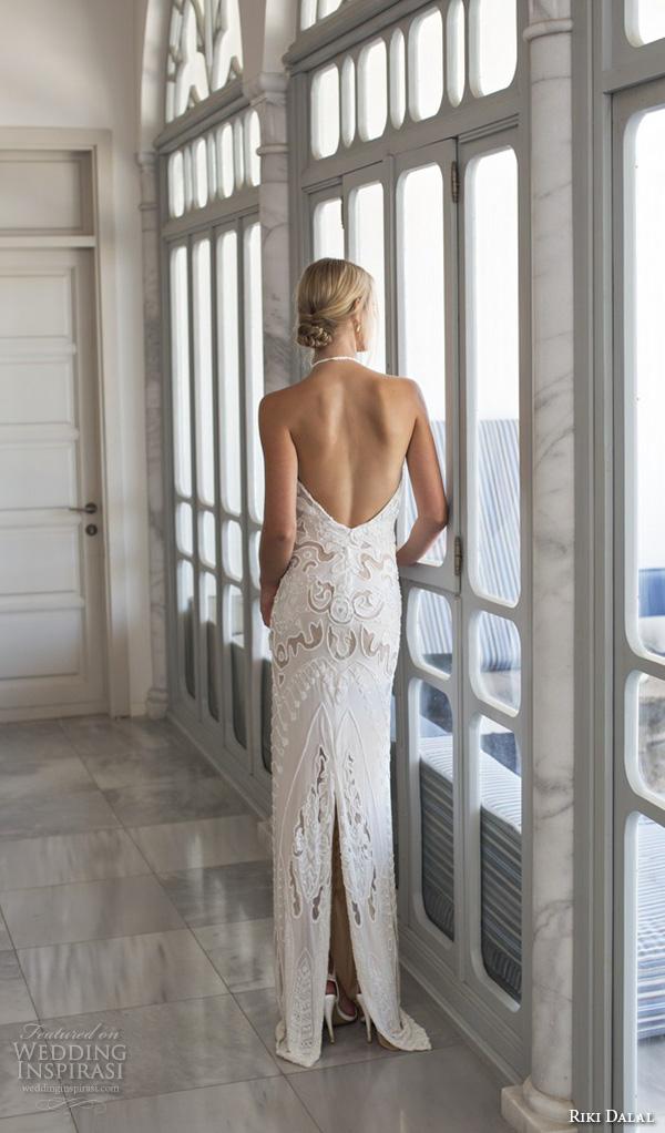 riki dalal 2015 valencia wedding dresses sleeveless halter neckline embroidered beautiful sheath wedding gown open low back