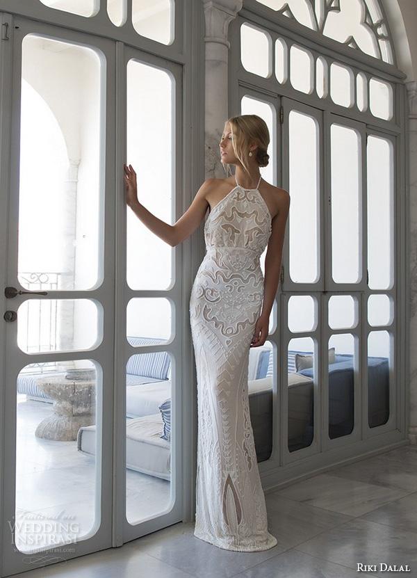 riki dalal 2015 valencia wedding dresses sleeveless halter neckline embroidered beautiful sheath wedding gown