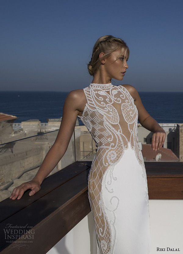 riki dalal 2015 valencia wedding dresses sleeveless high neck illusion lace embroidered stunning slim fit sheath wedding gown chape train keyhole back closeup front