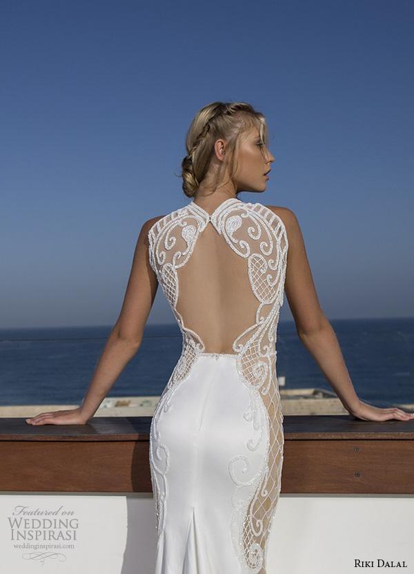 riki dalal 2015 valencia wedding dresses sleeveless high neck illusion lace embroidered stunning slim fit sheath wedding gown chape train keyhole back closeup