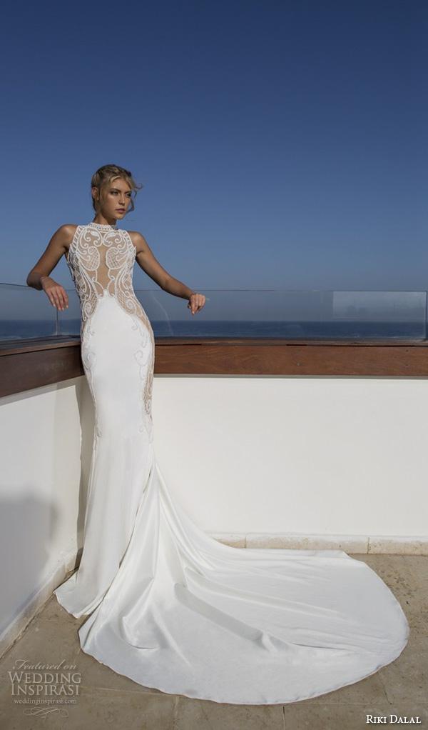 riki dalal 2015 valencia wedding dresses sleeveless high neck illusion lace embroidered stunning slim fit sheath wedding gown chape train