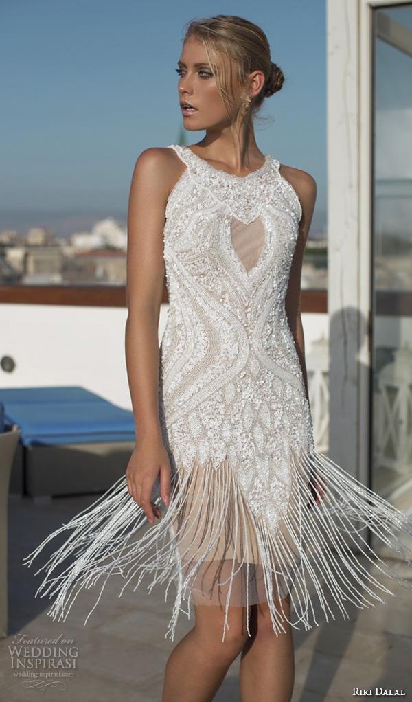 riki dalal 2015 valencia wedding dresses sleeveless jewel neckline beaded bodice fringe short wedding dress skirt