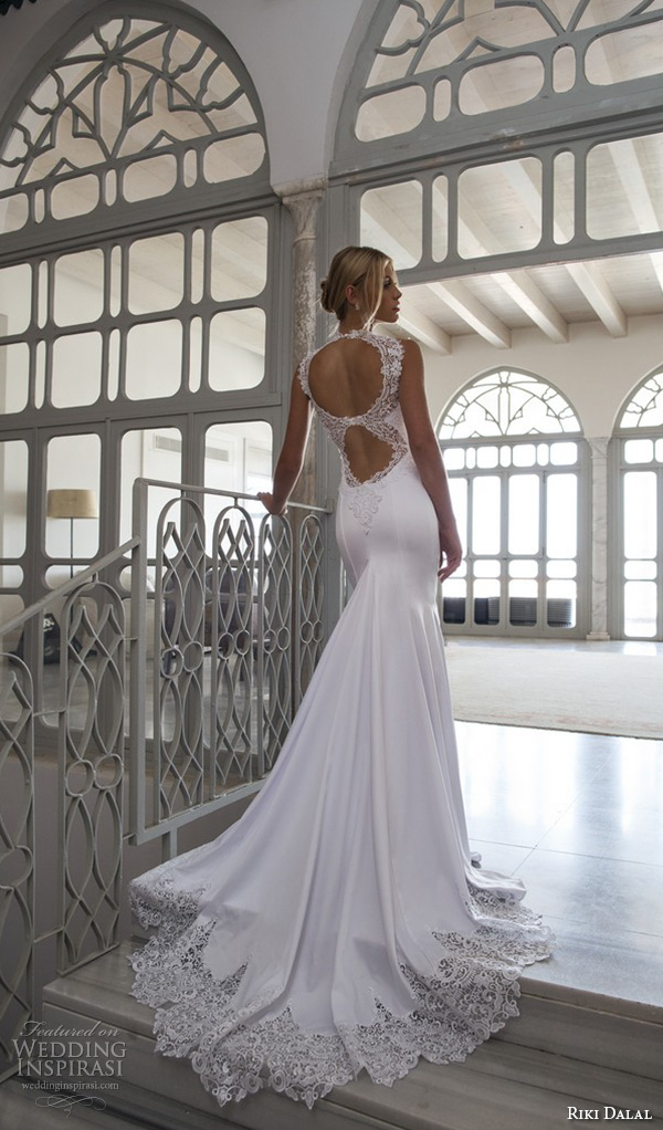 riki dalal 2015 valencia wedding dresses strapless lace high collar sweetheart neckline beautiful slim fit fit and flare mermaid wedding dress lace back with train