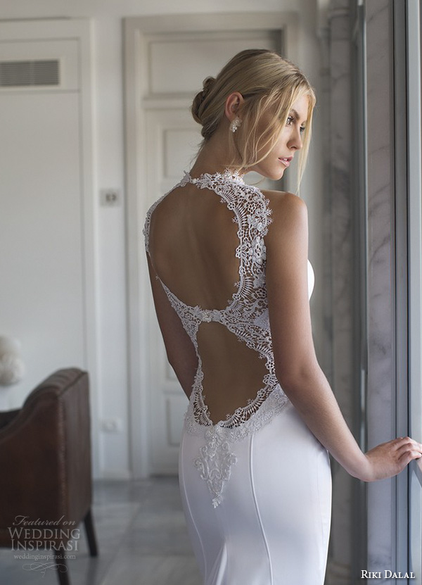 riki dalal 2015 valencia wedding dresses strapless lace high collar sweetheart neckline beautiful slim fit fit and flare mermaid wedding dress lace open back with train