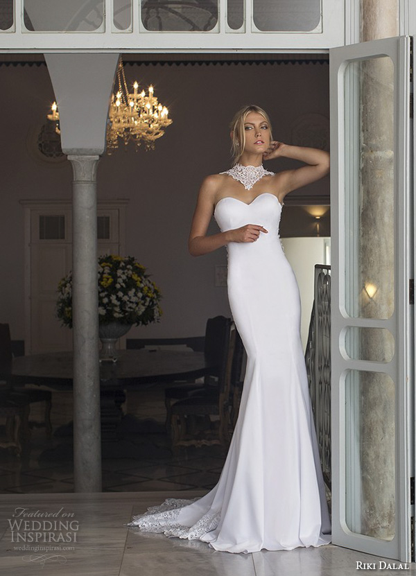 riki dalal 2015 valencia wedding dresses strapless lace high collar sweetheart neckline beautiful slim fit fit and flare mermaid wedding dress