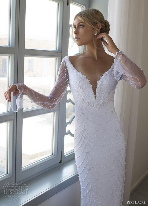 riki dalal 2015 valencia wedding dresses trumpet illusion long sleeves plunging v neckline beaded throughout slim elegant sheath wedding dress open low back closeup