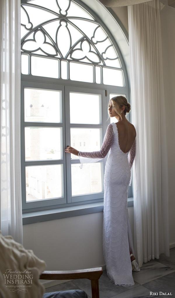 riki dalal 2015 valencia wedding dresses trumpet illusion long sleeves plunging v neckline beaded throughout slim elegant sheath wedding dress open low back
