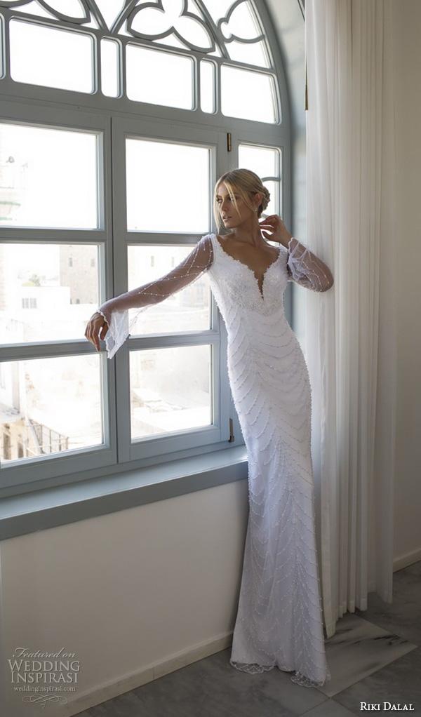 riki dalal 2015 valencia wedding dresses trumpet illusion long sleeves plunging v neckline beaded throughout slim elegant sheath wedding dress
